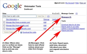 Google webmaster central dashboard