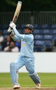 Saurav Ganguly playing one of his favourite shots for six.
