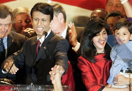 Jindal with wife and son