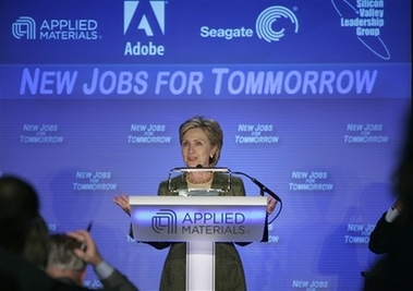 Hillary Clinton speaking - Check the spelling of tomorrow in the background! ;)