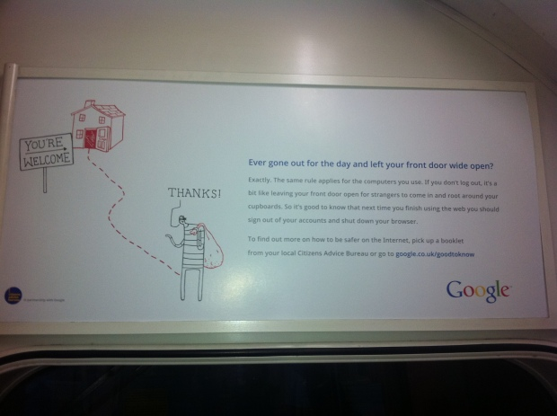 Google Good to Know Ad on London Underground - Sign out