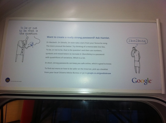 Google Good to Know Ad on London Underground - Strong Password