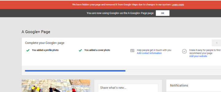 We have hidden your page and removed it from Google Maps due to changes in our system.
